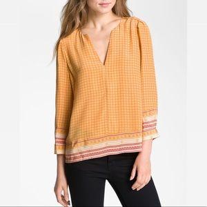 Joie Silk Marigold Yellow Scarf Print Blouse Top